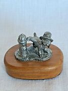 Vintage Rb Pewter Dog Lifting Leg To Pee On Hydrant Wood Block By Ricker Marked