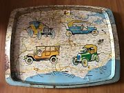 Antique Early Tin Map Of South England Old Tray With Retro Classic Cars