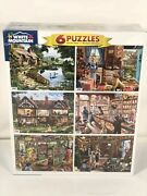 6 Puzzles White Mountain 2-1000, 2-500, 2-300 Steve Crisp Mod 1223 Made In Usa