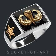 Jump Wings Ring Silver Parachute Paratrooper Parachutist Airborne Army Infantry