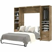 Bestar Cielo Premium 3 Piece Full Wall Bed In Rustic Brown And White