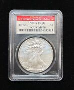 American Silver Eagle 1 2012 S Pcgs Ms 70 Struck At San-francisco Mint