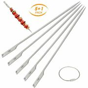 5pcs Flat Barbecue Skewers Outdoor Backyard Picnic Bbq Grilling Wire Ring 10inch