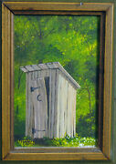 Outdoor Outhouse Toilet Mystery Artist Signed Moon Door For Cottage Bath