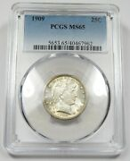 1909-p Pcgs Ms65 Mint State Silver Barber Quarter 25c Coin 25877b
