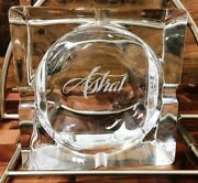 Euc Astral Lead Crystal Ashtray Glass Large Mid Century Deco Heavy Etched Logo