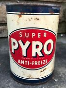 Vtg 1936 Super Pyro Antifreeze 1 Quart Oil Can 25 Cent Pricer Tin Can New York