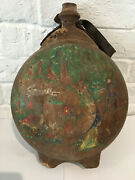 Early 19 C Antique Wood Treen Flask Canteen Vessel With Folk Art Carvings