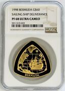 1998 Gold Bermuda 60 Ngc Proof 68 Ultra Cameo Ship Deliverance Triangle Coin