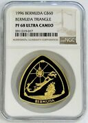 1996 Gold Bermuda 60 Triangle 1 Oz Proof Coin Ngc Pf 68 Ultra Cameo 1500 Minted