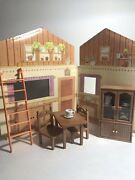 Vintage Maple Town Sylvanian Family Dining Room Table Chairs China Cabinet Walls