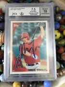 2010 Topps Pro Debut Mike Trout Rookie Rc Signed Auto Beckett Bgs 7.5 Au10 Jsa