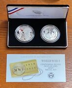 2018 World War 1 Centennial Silver Dollar And Army Medal Set With Box And Coa