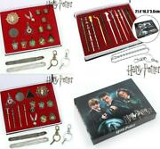 Harry Potter Golden Snitch Necklace Keychain Rings Set Magic Stick Metal Pendant