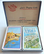 Lion Playing Cards Israel Holy Land Gift Haifa And Acre Usa Tax Stamp Vintage 1960