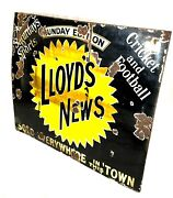 Antique Advertising - Large Enamel Sign For Lloyds News / Cricket And Football