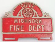 Vintage Mishnock Fire Department Chief Red License Plate Topper Aluminum Truck