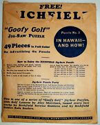 Rare Feg Murray 1930and039s Vintage Richfield Gas Goofy Golf Jig Saw Puzzle Set 4/6
