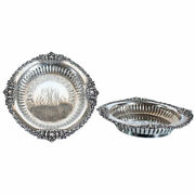 Pair Antique American Hamilton And Diesinger Sterling Silver Bottle Coasters C. 18
