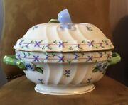 Herend Blue Garland Large Oval Soup Tureen With Roses Hand Painted Porcelain