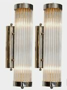 Pair Vintage Old Art Deco Chrome Brass And Glass Rod Ship Light Wall Sconces Lamp