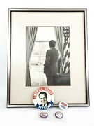 Richard Nixon Framed Photo And 4 Buttons 1973 Re-elected White House 8 X10 B And W