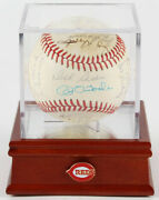 Reds Old Timers Game Signed Ball And Case Sisler Pinson Thurman Burgess Brosnan +