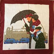 Vintage Liberty Of London Silk Scarf Christmas Winter Scene Hand Rolled