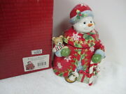 Fitz And Floyd Christmas Snowman Cookie Jar W Animals 2005 619/137 In Box