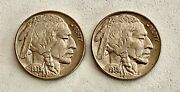 2- 1938-d Buffalo Head Nickels- One Mint Error See Other Coins Gold And Jewelry