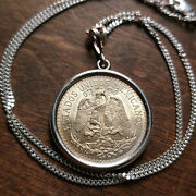 1944 Mexican Silver Cincuentas Pendant On A 18 925 Italy Silver Curb Chain 28mm