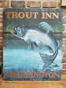 Vintage English Reclaimed Fishing Trout Inn Pub Sign Architectural Antique