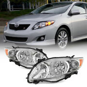 For 2009-2010 Toyota Corolla Chrome Factory Style Headlights Headlamps Pair