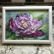 Textured Impasto Modern Abstract Floral Painting Framed Perfect Birthday Gift