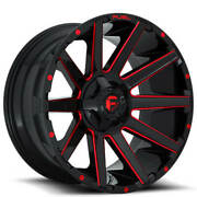 4 24x12 Fuel Wheels D643 Contra Gloss Black W Red Milled Off Road Rims B48