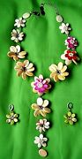 Vintage Butler And Wilson Flower Neckless And Earrings.