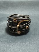 Boaz Kashi Oxidized Sterling Silver And 18k Gold 2 Rubies 1 Diamond Wire Wrap Ring