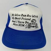 Vtg Ford Truck Wife Ran Off With Friend Trucker Snapback Hat Blue White 80s 90s