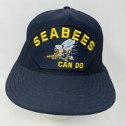 Vtg Us Navy Seabees Can Do Snapback Hat Usa Military Construction Battalions