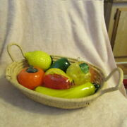 Vintage Large 6 Piece Murano Style Hand Blown Glass Fruits And Vegetables
