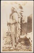 Native American Indian Rppc Ponca Chief Crazy Bear Photograph Post Card Photo