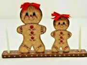 Wooden Gingerbread Mom And Daughter Candle Holder Holiday Display Euc