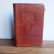 Tooled Leather Bible Cover Cross And Wild Rose D On The Clasp 1952 Bible Inside