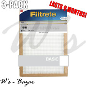 Filtrete Basic 3m Air Furnace Filter White Pleated 3 Pack 9 Months Supplies New