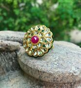 New Unused 22k Gold Band With Fine Quality Emerald Ruby Diamond Gemstone Ring