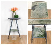 Hand-crafted Vintage French Botanical Post Card Accent Table, Plant Stand
