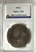 Russia 1 Rouble 1724 Silver Peter I 1699-1725 Vf Bitkin921