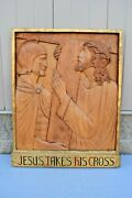 + Stations Of The Cross + Station 2, Hand Carved In Wood, 30 1/2 Ht. Cu562