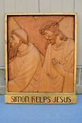 + Stations Of The Cross + Station 5, Hand Carved In Wood, 30 1/2 Ht. Cu564