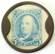 Ca Brownell Numismatics Postage Piece Advertising Encased 5 Cents Franklin Stamp